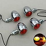 TUINCYN Silver Moto Mini clignotants Ampoules indicateurs avant / arrière Ambre / Jaune Adaptés...