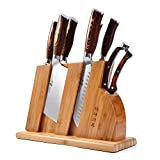 TUO Kitchen Knife Set with Wooden Block - Forged German X50CrMoV15 Steel - Pakkawood Handle - Fiery Phonex Series - 8pcs Knives Set - TC0710