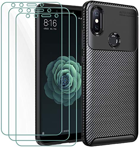 iVoler Cover per Xiaomi Mi A2 + 3 Pezzi Pellicola Vetro Temperato, [Fibra di Carbonio] Custodia Protezione in Morbida Silicone TPU Anti-Graffio e Antiurto Protettiva Case - Nero