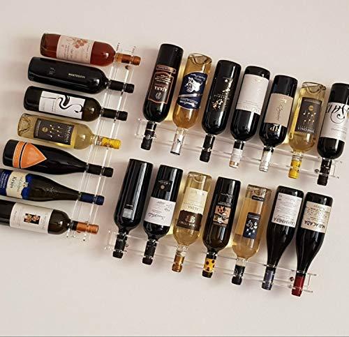 Slato Portabottiglie Porta Bottiglie di Vino a Parete Design Moderno in plexiglass Trasparente...