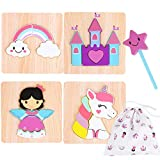 Toddler Wooden Jigsaw Puzzles Chunky – (4 Pack with Extra Magic Wand) Educational Toys for Preschool Kids Ages 1 2 3 Year Old Girl Gifts with Matching Canvas Bag – Rainbow Unicorn Castle Set