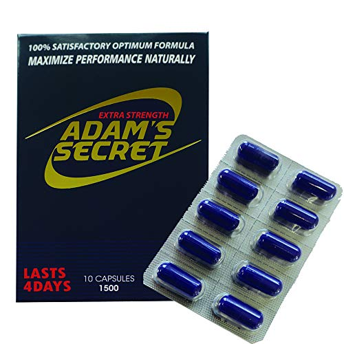 Adams Secret 1500 100% Natural Pills for Men Boost Your Performance, Energy, and Endurance 10 Pills Per Pack with Adam's Secret Original Inner Seal
