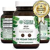 Natural Nutra Kelp Iodine Supplement, Thyroid Support, Vegan Sea Kelp, North Atlantic Sourced Seaweed Extract, 225 mcg, 250 Tablets