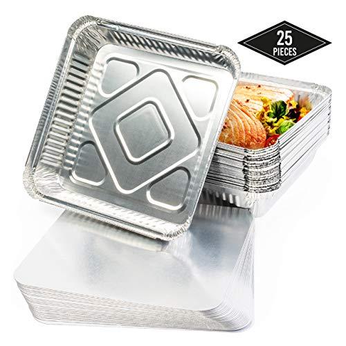 25 Teglie Alluminio Usa e Getta, Vaschette Monouso, Contenitori Alluminio con Coperchio, (M) 24 x 24 cm - Perfette per Cottura al Forno, Arrostire e Cucinare - Robusto e Impermeabile.