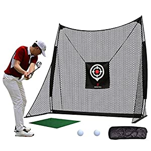 HEAVY-DUTY NET: 4 ply reinforced nylon net, 8ft W x 8ft H x 4ft D, durable for thousands of swings. High performance, high quality net is built for personal driving range at home. SIDE WINGS PATENTED DESIGN: Better stability for power swing indoor an...