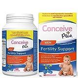 Conceive Plus Conceive Plus Vitamines de fertilité pour homme - Stimule la testostérone, augmente la production de sperme - Zinc, folate, racine de Maca, sélénium, pilules - 60 capsules végétariennes
