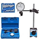 LAIWOO Professional Dial Indicator with Magnetic Base Holder 0-1.0' Tester Gage Gauge Fine Adjustable Long Arm 0.001' Precision