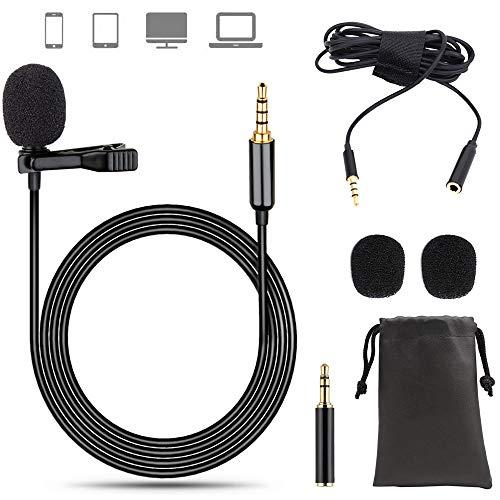 EasyULT Lavalier Mikrofon, 2m Professional Omnidirectional Kondensator Lapel Mic mit Einfacher Clip, 3.5mm Jack Mikrofon für Audio-Aufnahme Podcast Interviews Konferenz Live Singen(PU Leder Bag)