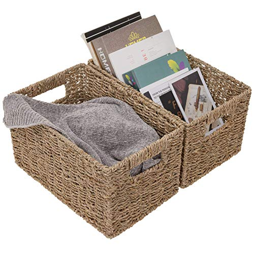 "StorageWorks Seagrass Storage Baskets, Rectangular Wicker Baskets with Built-in Handles, Medium, 13"" x 8.4"" x..."