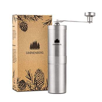 Groenenberg Moulin à café manuel (réglable) | Coffee Grinder en Acier Inoxydable (inox) | Moulin manuel café | Broyeur en Céramique | Portable et emballée sans plastique