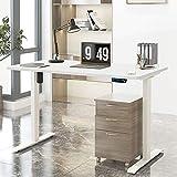 Electric Adjustable Standing Desk Frame - Stand up Desk Frame with Height and Width Adjustable Desk Electric Sit Stand Desk Base Single Motor Memory Preset Controller Home Office White (Frame Only)