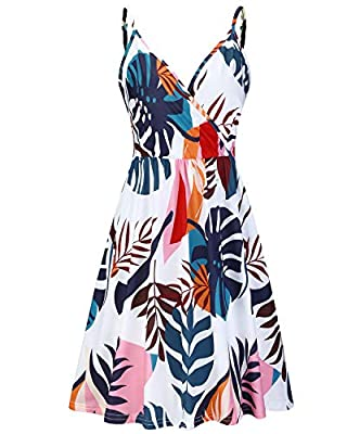 Unique Style:Floral Printed Midi Dress/Sexy V Neck/Staphetti Strap/Sleeveless/Two Sides Pockets/Elastic Waist/Midi Length/Casual Style/Beach Swing Dress/Ruched Features:Floral printed design makes you look more beatiful,cute,fashion and elegant.Wheth...