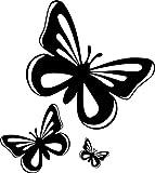 Set 3x autocollant sticker macbook laptop voiture moto papillon noir enfant