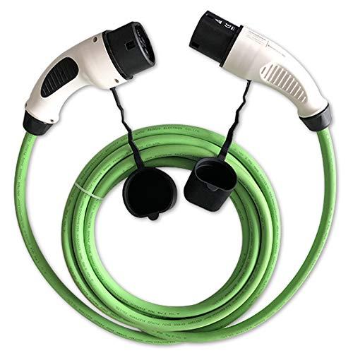 ZENCAR EVSE EV - Cable de carga para vehículos eléctricos tipo 2, tipo 2, 32 A, 3 fases, 22 kW, verde, 6 metros, bolsa de transporte gratis