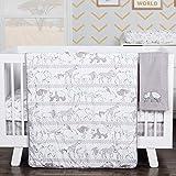 Waverly Congo Line Neutral Grey Jungle Animal Theme 5 Piece Baby Crib Bedding Set