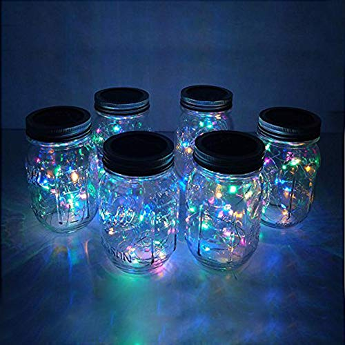 6 Pack Mason Jar Lights 20 LED Solar Colorful (4 Colors) Fairy...