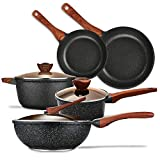 KYTD Pans and pots set, Nonstick Cookware Set Aluminum Induction Ceramic Cookware Set Dishwasher Safe