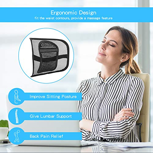 """Product Image 3: ACVCY Lumbar Mesh Support for Office Chair or Car Seat, Breathable Comfortable Back Support for Office Chair Lumbar Support Cushion for Car Seats Office Chair Car Lumbar Cushion 12"""" x 16"""""""