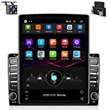 Hikity Double Din Android Car Stereo Tesla Styel Vertical 9.7 Inch Touchascreen Bluetooth FM Radio Support WiFi Connect Mirror Link for Android/iOS Phone + Dual USB Input & 4 LEDs Backup Camera