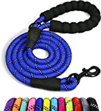 Taglory Rope Dog Leash 6 FT with Comfortable Padded Handle, Highly Reflective Threads Strong Dog Leash for Medium Dogs, 3/8 inch, Navyblue