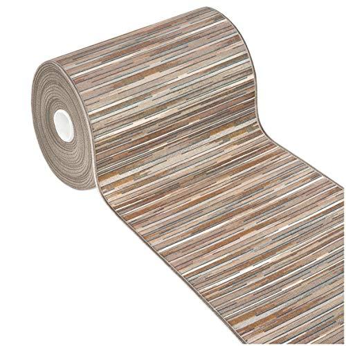 Tappeto Cucina Bordato Tessitura Piatta Multiuso Bagno Camera Corridoio Stile Bamboo Varie Misure 100% Made in Italy MOD.Chalet Plus 51 52X280 Beige