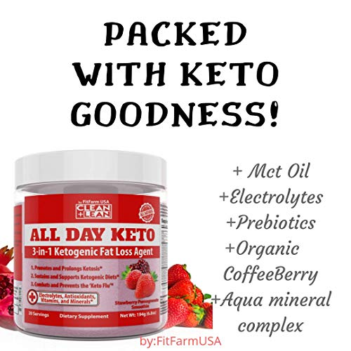 All Day Keto 3-in-1 Ketogenic Fat Loss Agent MCT Oil Extract, Organic Caffeine, prebiotic Inulin Fiber, Aquamin Aquatic Mineral Complex + Immunity Vitamins antioxidants 7