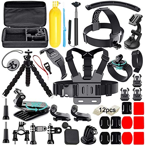 Soft Digits 50 in 1 Action Camera Accessori Kit per GoPro Hero 2018 Hero 7 6 5 4 3 Hero 5 Black, Hero Session YI Campark Akaso Crosstour Apeman Sony con custodia per il trasporto