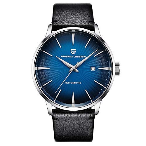 Smartwatches,Watch Machinery Watch Trend Business Herrenuhr Wasserdichter Ledergürtel Blau