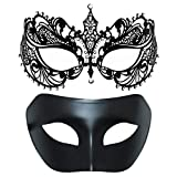 One Pair Couple's Venetian Masquerade Masks,Crown Mask Costumes Mardi Gras Prom Mask (Black+Black)
