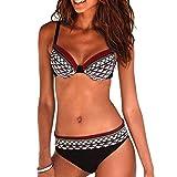 Bikini Mujer Estampado Tribal Push Up Trajes de Baño Ropa Sexy Bohemia Conjunto Bikinis (Vino Rojo,...