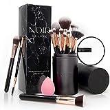Noir Deluxe - Juego de 14 brochas de maquillaje profesional con toallita desmaquillante reutilizable, esponja de maquillaje y estuche (oro rosa)