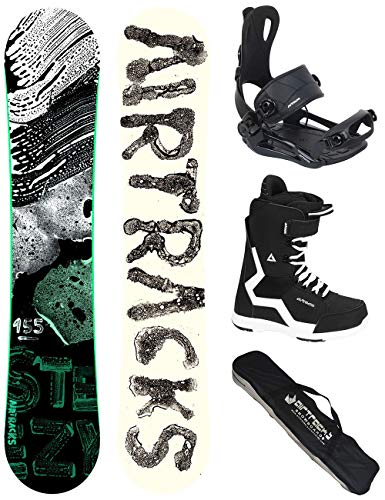 Airtracks Snowboard Set - Board STEEZY Wide 155 - Softbindung Master - Softboots Savage Black 44 - SB Bag