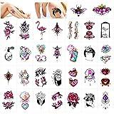 Qpout 30 Hojas Tatuajes temporales para mujeres niñas, joyería de flores Diamante Flamenco Totem...