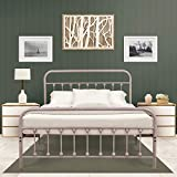 Ambee21 Vintage Queen Metal Bed Frame with Headboard and Footboard – Platform/Wrought Iron/Heavy Duty/Solid Sturdy Metal Slat/Rustic Gray Silver/No Box Spring Needed/Mattress Foundation