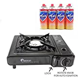 MAXSUN Camping Gas Stove, Cooker, Portable Outdoor Single Burner, Available with Camping Gas, Butane Canisters, Lightweight, Safe Perfect for Picnics BBQ with Bonus Bag (Gas stove only)
