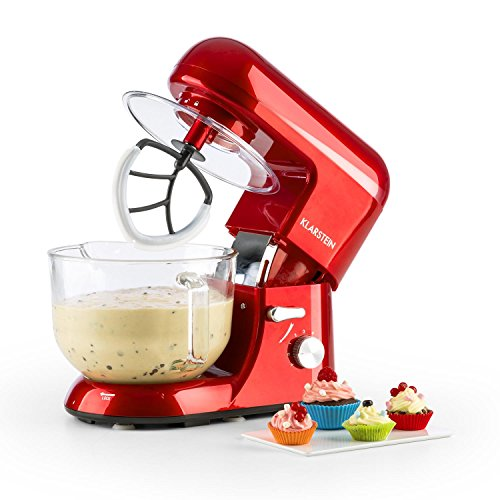 KLARSTEIN Bella Rossa 2G - Macchina per Impastare, Robot da Cucina, 1200 W, 5,2 Litri, 6 Livelli,...