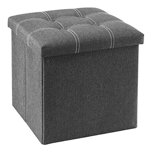 YOUDENOVA 15 inches Storage Ottoman Cube, Foldable Storage Boxes Footrest Step Stool, Padded Seat for Dorm Living Room, Support 350lbs, Line Fabric Grey