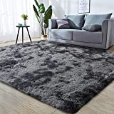 GKLUCKIN Shag Ultra Soft Area Rug, Non-Skid Fluffy 5'X7' Tie-Dyed Grey&Blue Fuzzy Indoor Faux Fur Rugs for Living Room Bedroom Nursery Decor Furry Carpet Kids Playroom