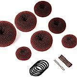 Chignon magique, 7 PCS Accessoires de Coiffure avec 5 élastiques à cheveux, 20 épingles à cheveux, Accessoires de Coiffure pour Kids Filles Femmes (Marron)