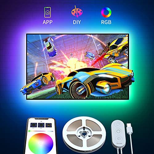 Govee Retroilluminazione TV LED 2M RGB USB con APP, 5050 Striscia LED Retroilluminazione TV Multicolor, Multi DIY Luce LED a Colori per HDTV da 40-55 Pollici PC Monitor 4x50cm 5V
