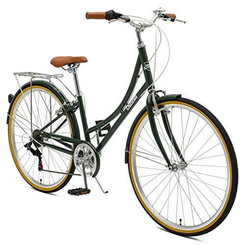 Retrospec by Westridge Critical Cycles Beaumont-7 Seven Speed Lady's Urban City Commuter Bike; 38cm, Olive, 38cm/Small