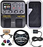 NUX MG-100 Multi Effects Processor Bundle with Blucoil Slim 9V Power Supply AC Adapter, 10-FT Straight Instrument Cable (1/4in), 2-Pack of Pedal Patch Cables, and 4-Pack of Celluloid Guitar Picks