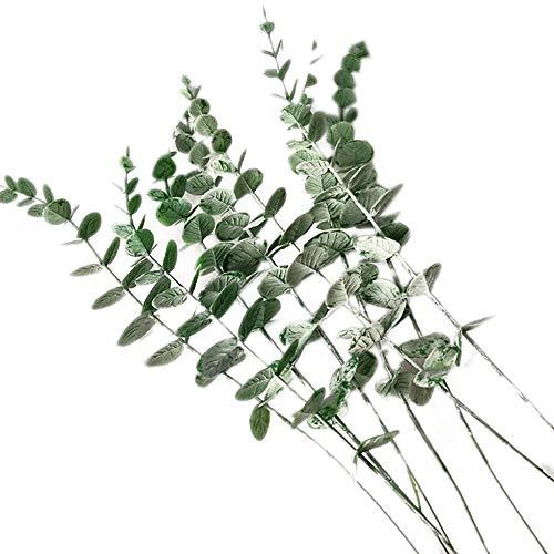 zunbo – Lote de 5 ramas de hojas de eucalipto para plantas artificiales falsas hojas de eucalipto para boda, centro de mesa casa