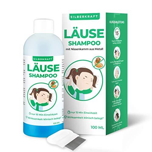 Silberkraft Läuseshampoo 100 ml mit Nissenkamm, zur Behandlung bei Kopfläusen und Nissen, effektives 2-Phasen-Shampoo, schonend für die Kopfhaut, für Kinder ab 1 Jahr
