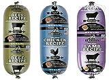 Redbarn Dog Food Rolls Variety Bundle - 3 Flavors (Lamb, Beef, and Chicken) - 3 Rolls Total (2lb 3oz Each)