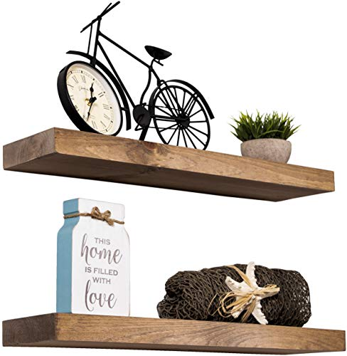 Imperative Décor Floating Shelves Rustic Wood Wall Shelf USA Handmade | Set of 2 (Special Walnut, 24' x 5.5')