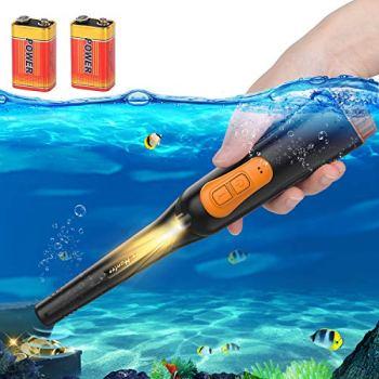 Détecteur de Métaux Portable IP68, AFOZO Détecteur de Métal Pinpointer étanche jusqu'à 10 mètres sous-marin,360 ° ultra sensible pour Or Argent Trésor,Parfait pour l'aventure en Plein Air. (Noir)