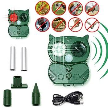 Répulsif Chat Ultrason Solaire Exterieur Répulsif Animaux Fréquence Réglable Répulsif à Ultrason Sonore-5 modes - Flash - Alarme réglable - Induction PIR - Étanche