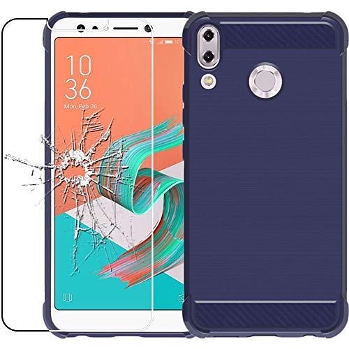 ebestStar - Cover Compatibile con ASUS Zenfone Max M1 ZB555KL Custodia Protezione Silicone Gel Fibra di Carbonio Anti Scivolo, Blu Scuro + Vetro Temperato [Apparecchio: 147.3x70.9x8.7mm, 5.5'']