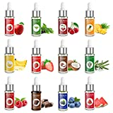 Nomeca Food Flavoring Oil, Candy Flavors Strawberry Chocolate Vanilla Flavoring Extract for Baking Cooking and Lip Gloss Making, Water & Oil Soluble - .2 Fl Oz / 6 ml with Droppers (Pack of 12)